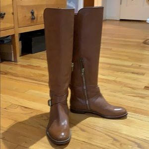 Coach tan leather buckle riding boots, size 5.